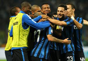 during the Serie A match between FC Internazionale Milano and AS Roma at Stadio Giuseppe Meazza on October 31, 2015 in Milan, Italy.