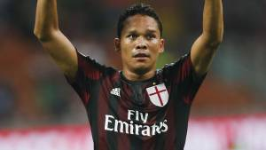 AC Milan's Carlos Bacca celebrates after scoring the opening goal during a Serie A soccer match between AC Milan and Empoli, at the San Siro stadium in Milan, Italy, Saturday, Aug. 29, 2015. (AP Photo/Luca Bruno)
