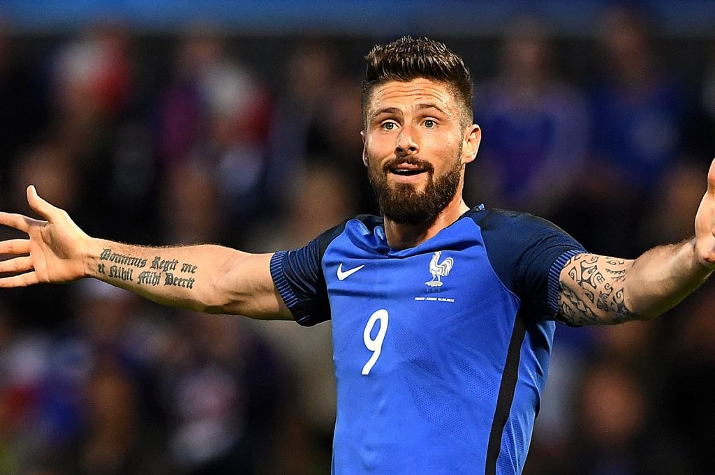 France's forward Olivier Giroud reacts during the friendly football match between France and Scotland, at the St Symphorien Stadium in Longeville-lès-Metz, Eastern France, on June 4, 2016.  / AFP / FRANCK FIFE        (Photo credit should read FRANCK FIFE/AFP/Getty Images)