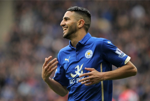 Leicester City's Riyad Mahrez celebrates scoring his second goal of the match against Southampton during the Barclays Premier League match at the King Power Stadium, Leicester. PRESS ASSOCIATION Photo. Picture date: Saturday May 9, 2015. See PA story SOCCER Leicester. Photo credit should read: Jon Buckle/PA Wire. RESTRICTIONS: Editorial use only. Maximum 45 images during a match. No video emulation or promotion as 'live'. No use in games, competitions, merchandise, betting or single club/player services. No use with unofficial audio, video, data, fixtures or club/league logos.